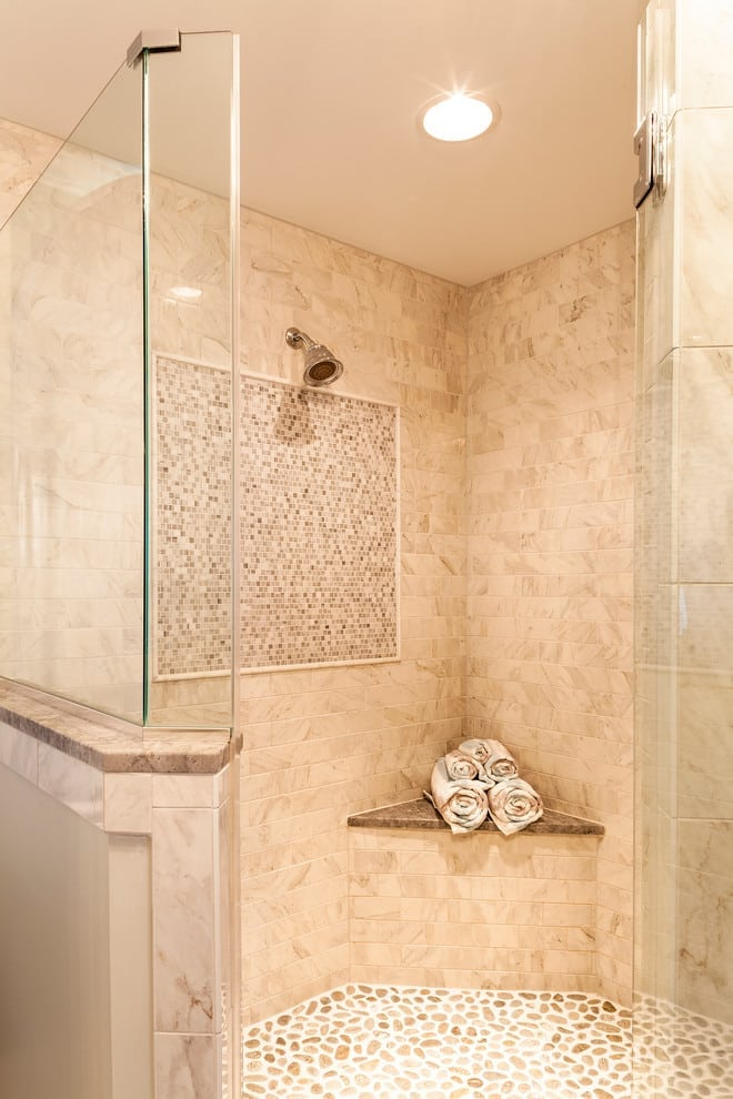 neo angle shower floor with pebble tile