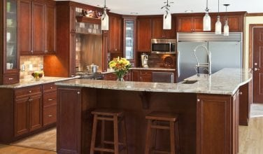 rancher conversion to two story kitchen island