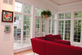 Sunroom with red couch