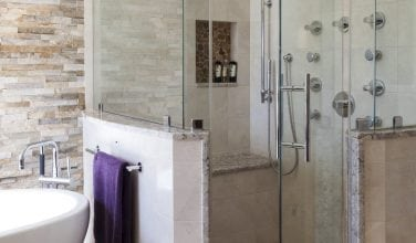 Steam Shower with Body Sprays in master bath.