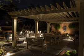 Outdoor patio with lighting at night