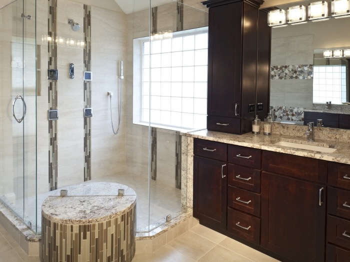 Master Bath shower with Body Sprays and state of the art technology