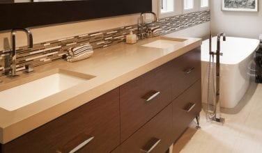 Contemporary double sink furniture type vanity with engineered stone top