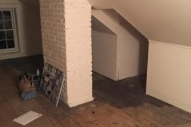 Before attic conversion to bedroom with chimney stack